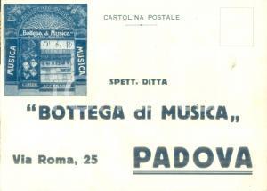 1930 ca PADOVA Bottega di Musica di Pietro ZANIBON Cartolina pubblicitaria