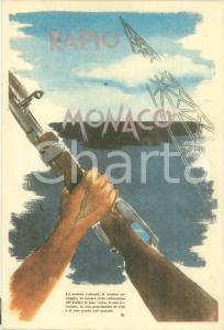 1940 ca RADIO MONACO Ridiamo all'Italia il suo volto Cartolina pubblicitaria FG