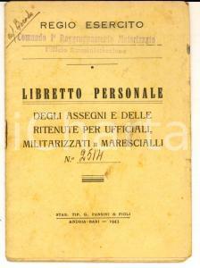 1943 WWII REGIO ESERCITO MILANO Libretto personale cap. medico Giuseppe GEROSA
