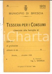 1921 BRESCIA Tessera per i consumi *Libretto non compilato con cedole