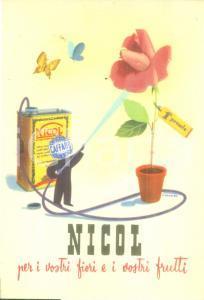 1940 ca MILANO Società Elettrica del CAFFARO Insetticida NICOL Cartolina FG NV