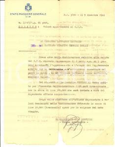 1944 PM 3800 STATO MAGGIORE GENERALE Lettera col. Pompeo AGRIFOGLIO risarcimenti