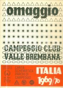 1969 VALLE BREMBANA Carta schematica parchi di campeggio FEDERCAMPEGGIO