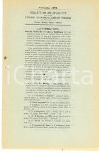 1902 TORINO Bollettino bibliografico Unione Tipografico-Editrice Torinese