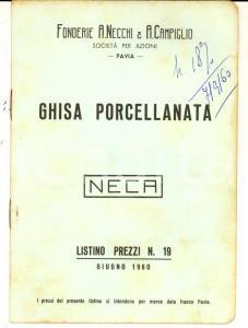 1960 PAVIA Ghisa porcellanata NECA - Listino prezzi *Fonderie NECCHI & CAMPIGLIO