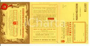 1954 MILANO Certificato di garanzia rasoio PHILIPS per concorso a premi