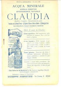 1902 NUOVA ANTOLOGIA Opuscolo pubblicità Acqua CLAUDIA Editrice PARAVIA