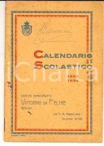 1933 GENOVA Convitto VITTORINO DA FELTRE - Calendario scolastico 38 pp.