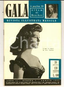 1953 GALA Apparecchiare la tavola - Ava GARDNER *Rivista ILLUSTRATA anno II n°7