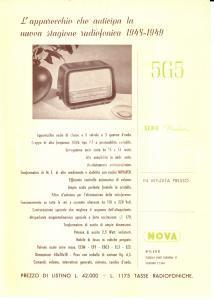 1948 MILANO Radio NOVA Apparecchio 5G5 *Volantino pubblicitario ILLUSTRATO