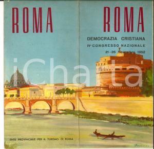 1952 TURISMO ROMA Pieghevole a colori per congresso nazionale DC *Ill. BADELLINO