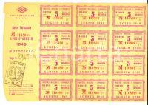 Agosto 1949 ACI AUTOMOBILE CLUB ITALIA Carta carburante per motociclo