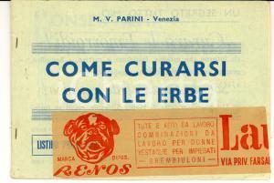 1956 VENEZIA M. V. PARINI - Come curarsi con le erbe *Listino prezzi 24 pp.