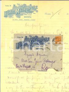 1909 GENOVA Hotel METROPOLE Lettera a Guido ASTENGO su carta intestata