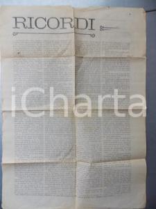1904 PARMA Giuseppe CONSIGLI - Ricordi di vicende dei mazziniani 35x50 cm