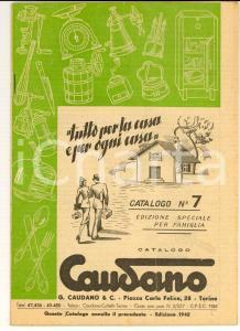1942 TORINO Articoli casalinghi CAUDANO *Catalogo ILLUSTRATO pp. 72 n°7