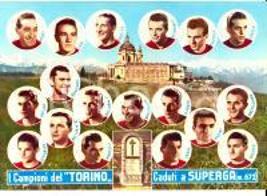 1955 ca TRAGEDIA DI SUPERGA I Campioni del TORINO caduti *Cartolina 20x15 cm
