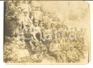 1917 WWI ZONA DI GUERRA Militari di fanteria con gatto e chitarra *Foto 12x9