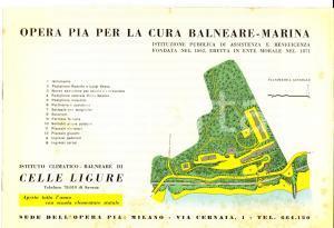 1957 CELLE LIGURE Opera Pia per la Cura Balneare *Pieghevole ILLUSTRATO