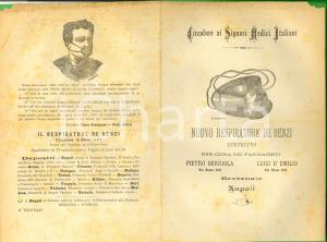 1880 ca NAPOLI Nuovo respiratore DE RENZI - Farmacisti BERRIOLA e D'EMILIO