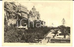 1933 CAGLIARI Veduta di viale Regina ELENA *Cartolina postale ANIMATA FP VG