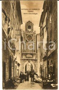 1918 LOANO (SV) Veduta della Torre dell'orologio *Cartolina ANIMATA FP VG
