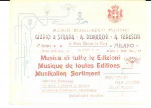 1904 MILANO Stabilimenti Musicali GIUDICI & STRADA DEMARCHI TEDESCHI Cartoncino