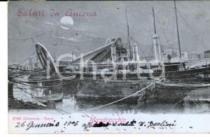 1906 ANCONA Mandracchio con battelli da pesca *Cartolina VINTAGE FP