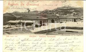 1903 ANCONA Vedurta della stazione ferroviaria *Cartolina VINTAGE FP VG