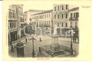 1900 ca SASSARI Veduta di piazzetta AZUNI *Cartolina ANIMATA FP VG