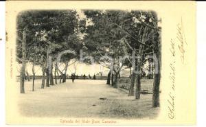 1901 CAGLIARI Rotonda del viale BUON CAMMINO *Cartolina ANIMATA FP VG