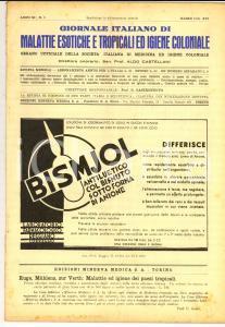 1938 GIORNALE ITALIANO MALATTIE ESOTICHE Nosografia di Addis Abeba *Anno XI n° 3