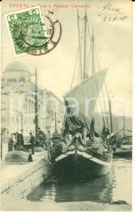 1910 TRIESTE Riva e Palazzo CARCIOTTI *Cartolina ANIMATA barche FP VG