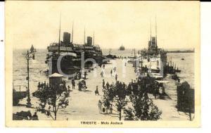 1929 TRIESTE Veduta del MOLO AUDACE *Cartolina ANIMATA piroscafi FP VG