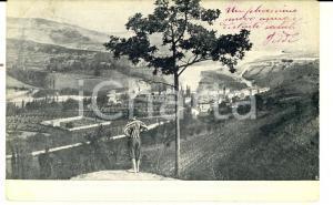1904 CORTONA (AR) Veduta sulle colline toscane *Cartolina ANIMATA bambino FP VG