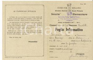 1934 MILANO Scuola MATILDE DI TOSCANA Foglio informativo Rina FONTANIN