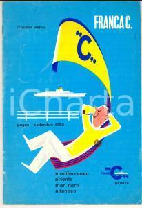1959 CHIARI SOMMARIVA Crociere su motonave FRANCA C.*Opuscolo ILLUSTRATO 34 pp.