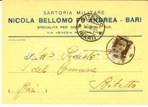 1934 BARI Sartoria Militare Nicola BELLOMO fu Andrea *Cartolina intestata FG