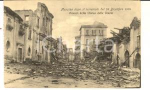 1908 MESSINA TERREMOTO Avanzi della Chiesa delle Grazie *Cartolina postale FP NV