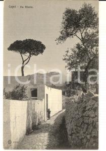 1910 ca CAPRI (NA) Veduta di via TIBERIO *Cartolina ANIMATA bambino FP NV