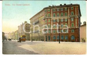 1910 ca TRIESTE Via Giosuè Carducci *Cartolina ad Aldo LUZZATTO FP VG