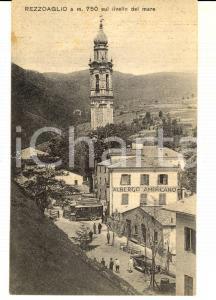 1931 REZZOAGLIO (GE) Veduta con Albergo AMERICANO *Cartolina ANIMATA RARA auto