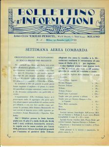 1930 MILANO Aero Club EMILIO PENSUTI Settimana Aerea Lombarda *Bollettino n° 13
