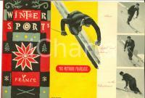 1950 ca FRANCE WINTER SPORT Pieghevole ILLUSTRATO  con mappa - SCI