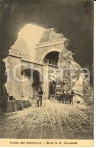 1916 DOMODOSSOLA SEMPIONE Galleria S. GIOVANNI *Cartolina ANIMATA carro ciclista