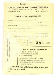 1960 ca ROMA Scuole Riunite per Corrispondenza - Moduli iscrizione PUBBLICITARIO