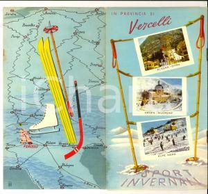 1950 ca Provincia di VERCELLI - Sport invernali *Pieghevole ILLUSTRATO TURISMO