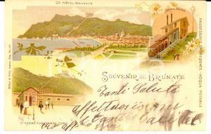 1900 ca BRUNATE Vedutine con Hotel BRUNATE e funicolare *Cartolina ILLUSTRATA