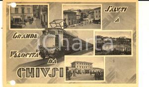 1940 CHIUSI (SI) Vedutine con treno *Cartolina ANIMATA DANNEGGIATA FP