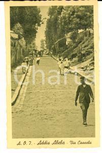 1937 AOI ADDIS ABEBA (ETIOPIA) Via CASSALA *Cartolina ANIMATA FP VG